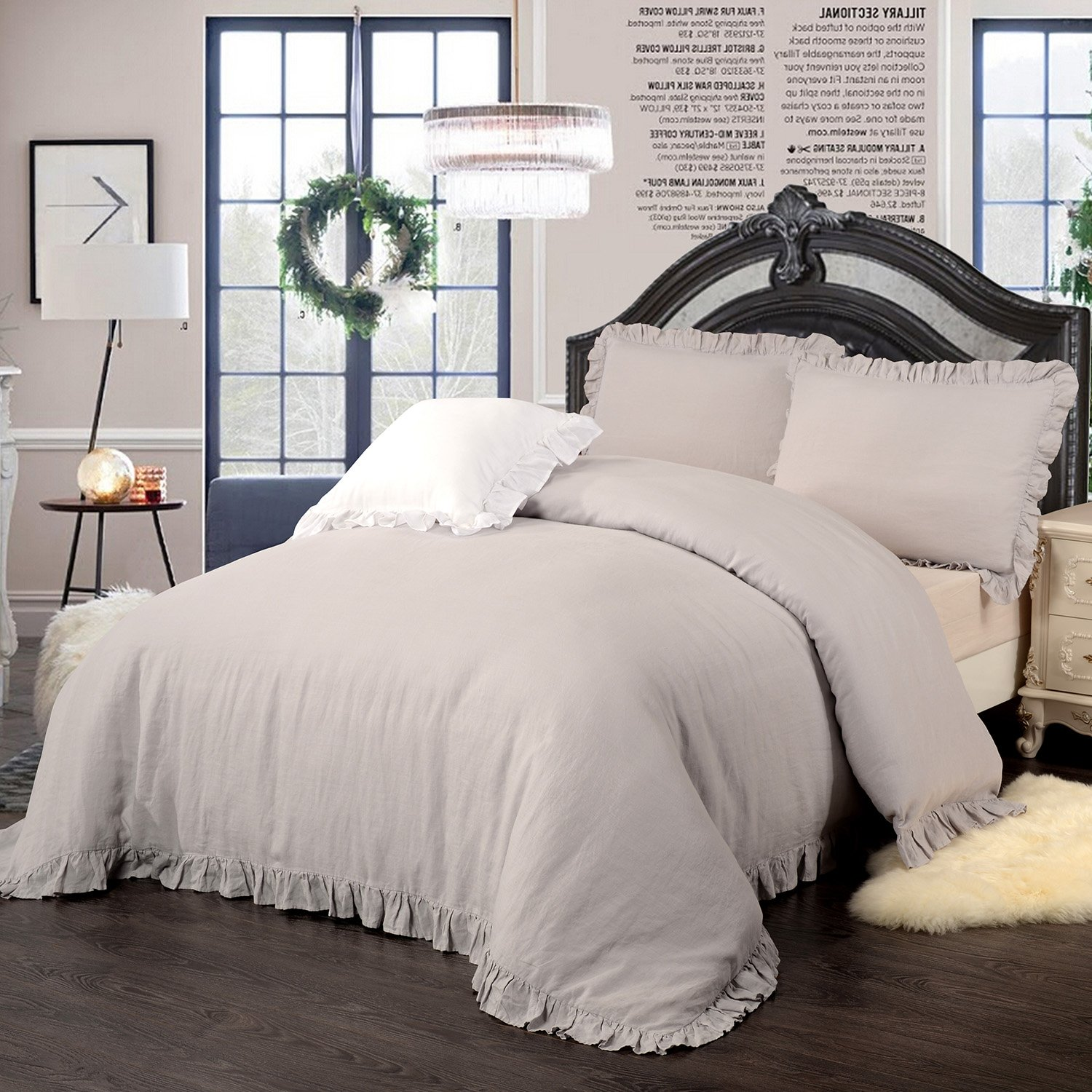 Simple&Opulence 100% Stone Washed Linen Frill Floral Flax Duvet Cover Set (Full, Grey)