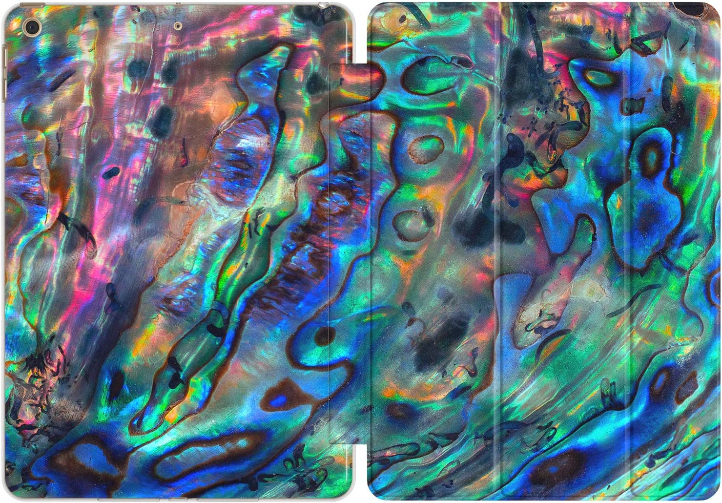 Vonna Case Replacement for Apple iPad Air 4th Gen 2020 12.9 Pro 10.2 8th 11 10.5 9.7 Mini 5/4/3/2/1 Print Closure Slim Bright Abalone Rainbow Design Magnetic Green Seashell Aesthetic Stand vm1175