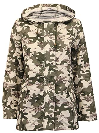 5e8cd475f1fdc Click Selfie New Ladies Camouflage Fishtail Showerproof Raincoat Parka Mac  Hooded Jacket Camouflage 4