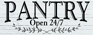 """Pantry Open 24/7 White tin Sign 16"""" x 6"""" tin Sign Wall Decor"""