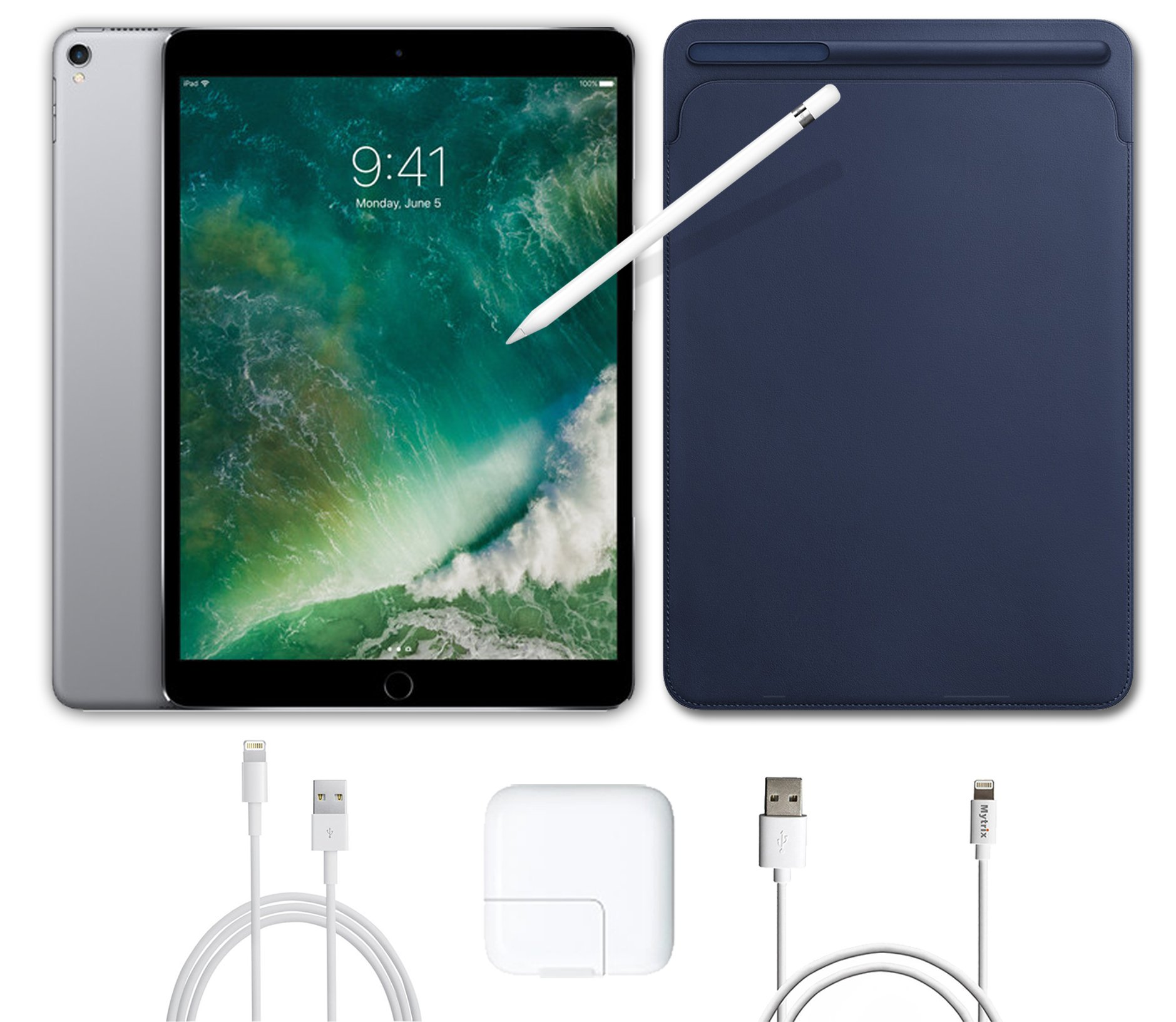 2017 New IPad Pro Bundle (5 Items): Apple 10.5 inch iPad Pro with Wi-Fi 512 GB Space Gray, Leather Sleeve Midnight Blue, Apple Pencil, Mytrix USB Apple Lightning Cable and All-in-One Travel Charger