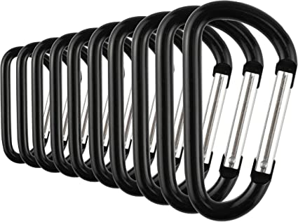 10pcs Steel Coil Carabiner Snap Spring Clips Hook Keychain Bag Holder Tool