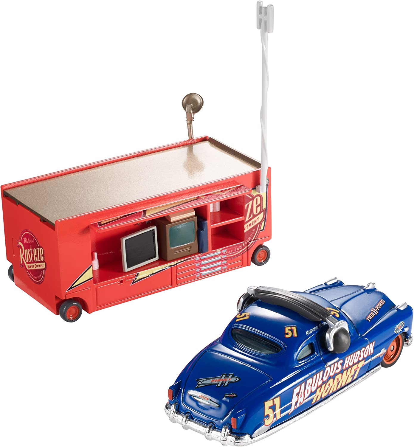 1:55 Scale 95 Pit Crew 2015 Series Fabulous Hudson Hornet with Stand Die-Cast Vehicle #3//8 Disney//Pixar Cars