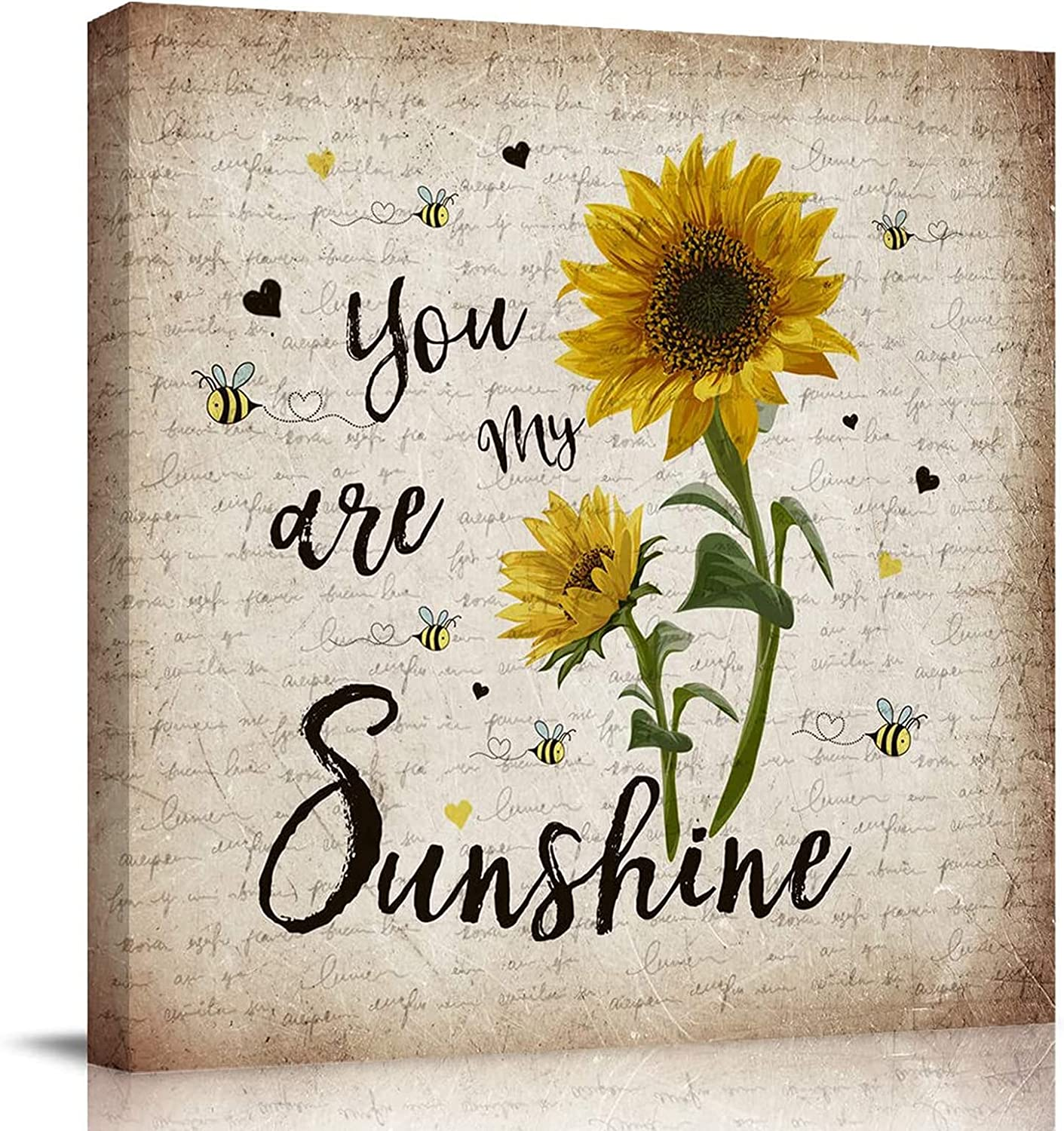 ZEREAA Sunflower Canvas Wall Art Decor - You're My Sunshine Yellow Framed Wall Art for Kitchen, Living Room, Bedroom, Bathroom, Bee and Sunflower Painting Wall Artwork Home Decor 14