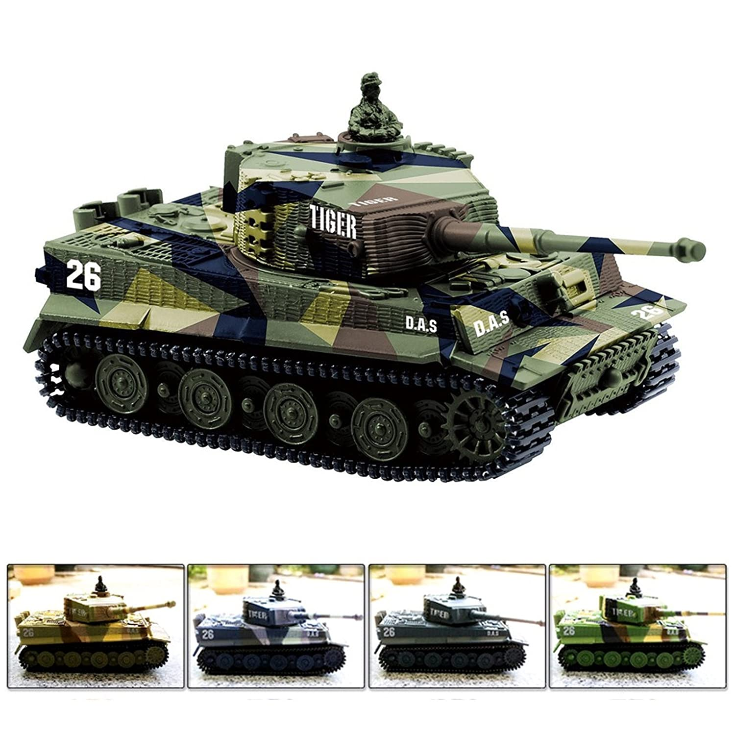 Cheerwing 1:72 German Tiger I Panzer Tank Remote Control Mini RC Tank With Sound Rotating Turret And Recoil Action When Cannon Artillery Shoots Vary Colors