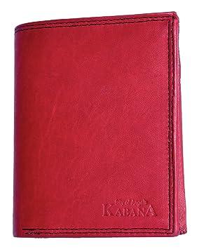 Cartera bicolor negra-roja Kabana de cuero diseño trifold: Amazon.es: Equipaje