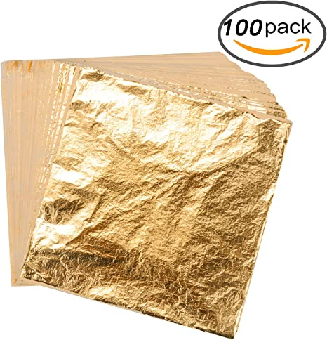 Multipurpose Gold Foil Paper Gilding Crafting Furniture 100 Sheets Imitation Gold Leaf for Arts Decoration 5.5 5.5 Inch Painting