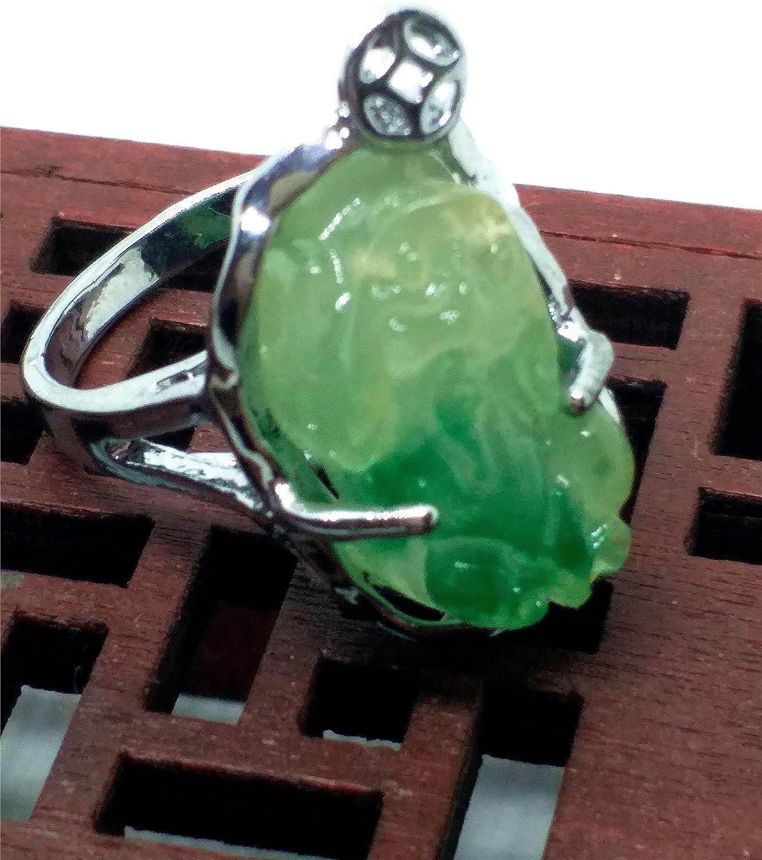 Plaqu/é or 18/K Jade Myanmar Jade Good Luck Bague de Saint Patron