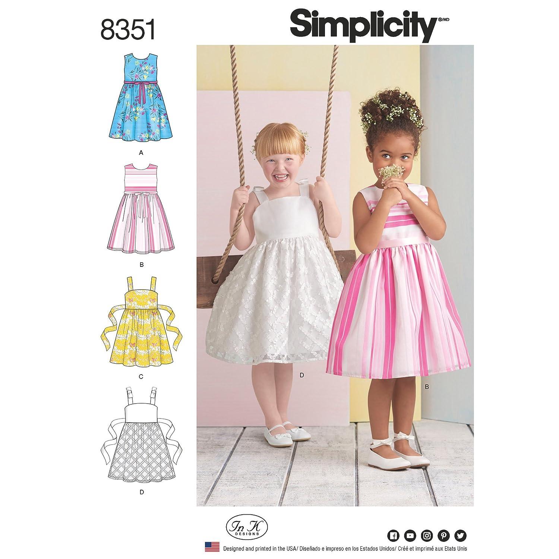 Simplicity Pattern 8351 A(3-4-5-6-7-8)チャイルドドレス、ペーパーホワイト、22 x 15 x 1 cm   B06XJYCZMF