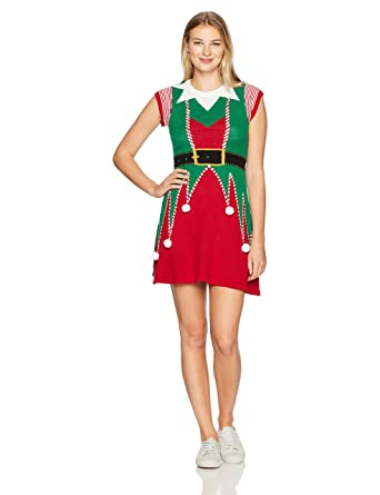Ugly Christmas Sweater Company Women\u0027s Elf Sweater Dress at Amazon Women\u0027s  Clothing store