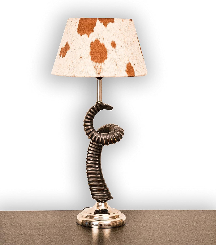 Lámpara de mesa Cuerno Kitzbühel con pantalla para lámpara de piel ...