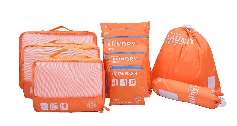 Beschan 6pcs/9pcs Compression Waterproof Travel Luggage Organizer Packing Cubes Laundry Bag (Black)