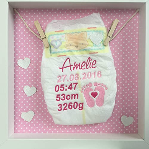 Baby Body Windel bestickt im Rahmen Geschenk Taufe Geburt