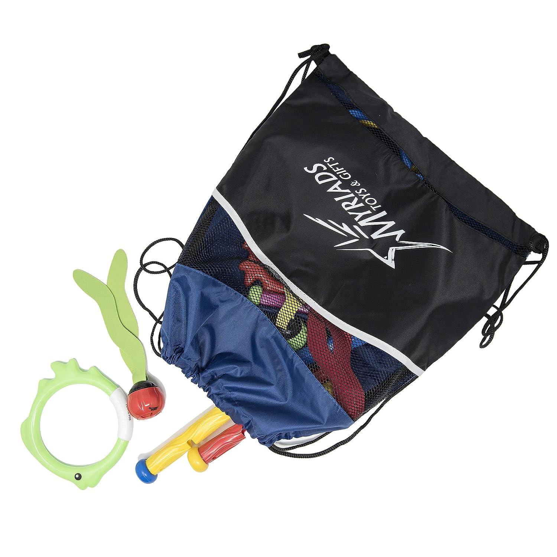 6 Flex Sticks 6 UFO Discs Swimline 16 Piece Diving Pool Toy Set: 4 Rings with Drawstring Bag