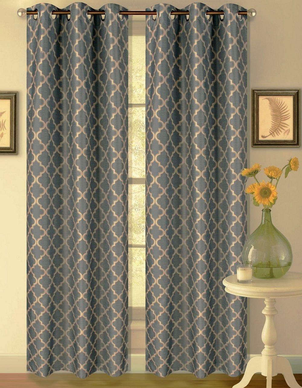 1 Set Slate Taupe 108'' Geometric Lined Blackout Grommet Window Drape Curtain