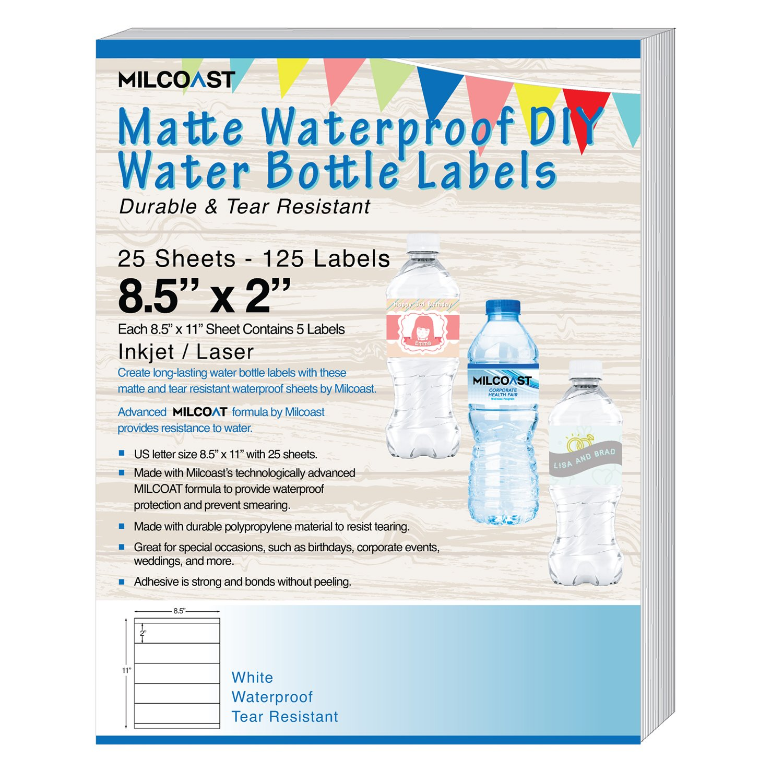 "Milcoast Matte Waterproof Tear Resistant DIY Water Bottle Labels 8 5"" x 2""  for Inkjet/Laser Printers - 25 Sheets"