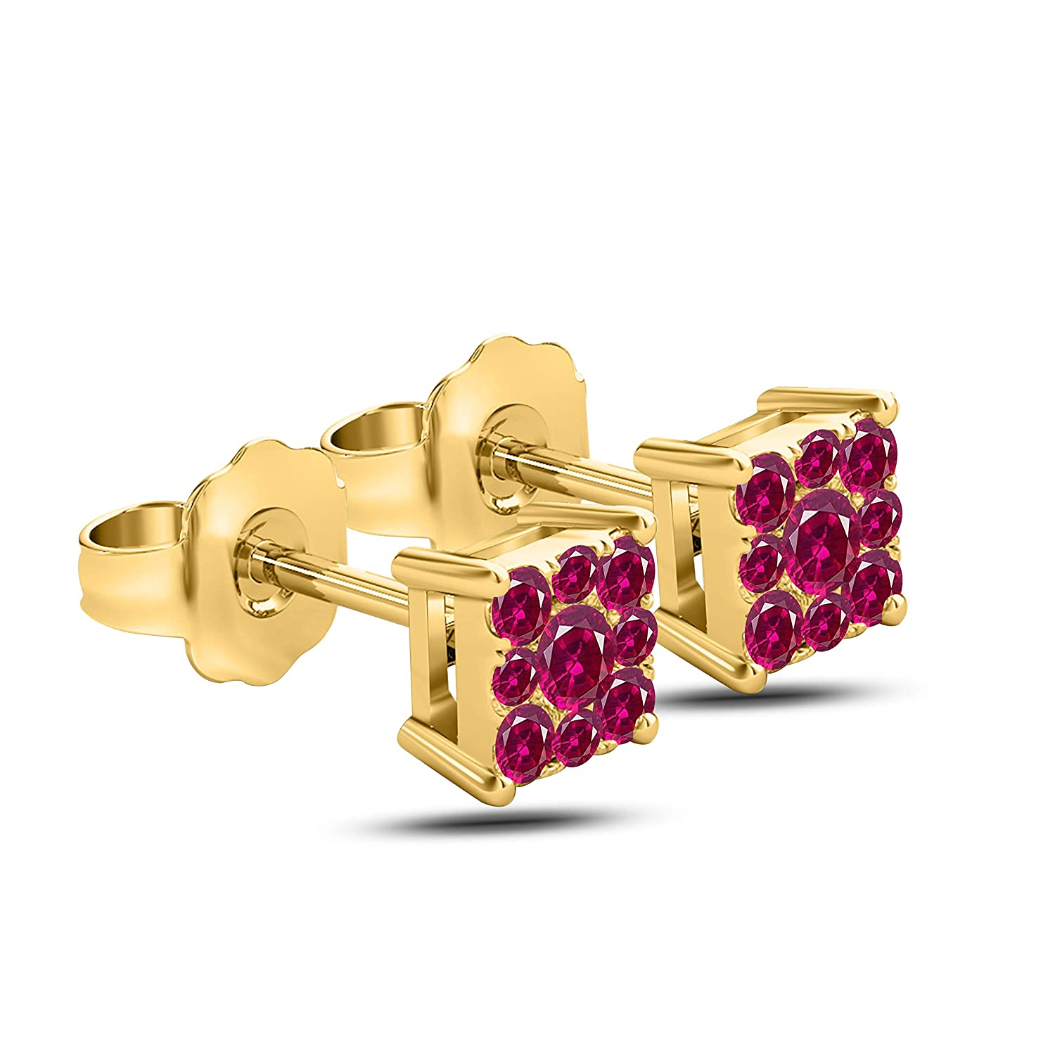 Gems and Jewels Plated Alloy Alloy 14k Yellow Gold Plated Alloy 1.00 Ct Round Cut Ruby Stud Earrings For Girls and Womens