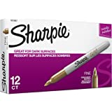 Sharpie Metallic Permanent Markers, Fine Point, Gold, 12-Count