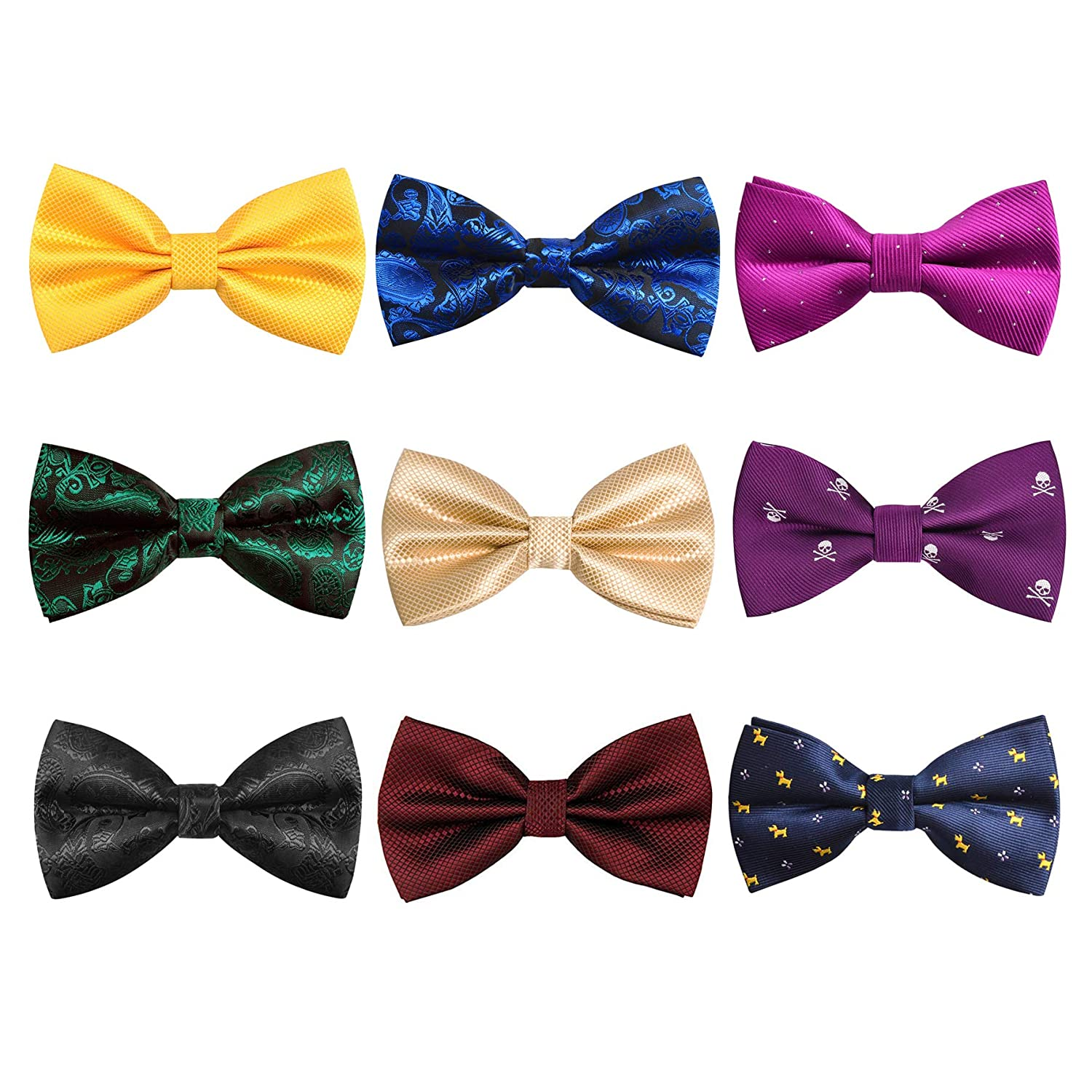 Pre-tied Tuxedo Adjustable Neck Bowtie for Wedding Party packs of 8 Set 5