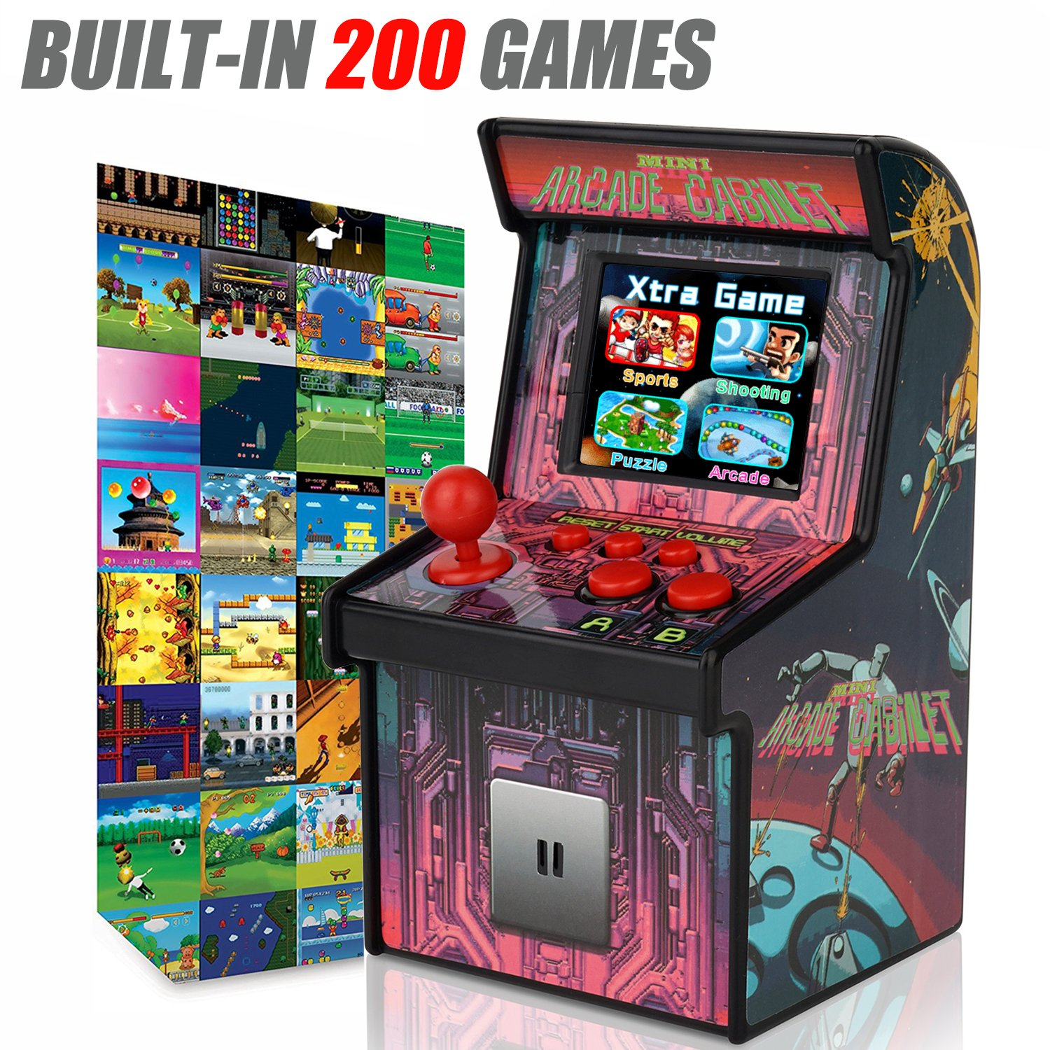 Kidaily Mini Arcade Game Retro Machines with 200 Built-in Video Games for Kids Classic Memories Handheld Games Home Travel Portable Childrens Teens Toys Novelty Electronics