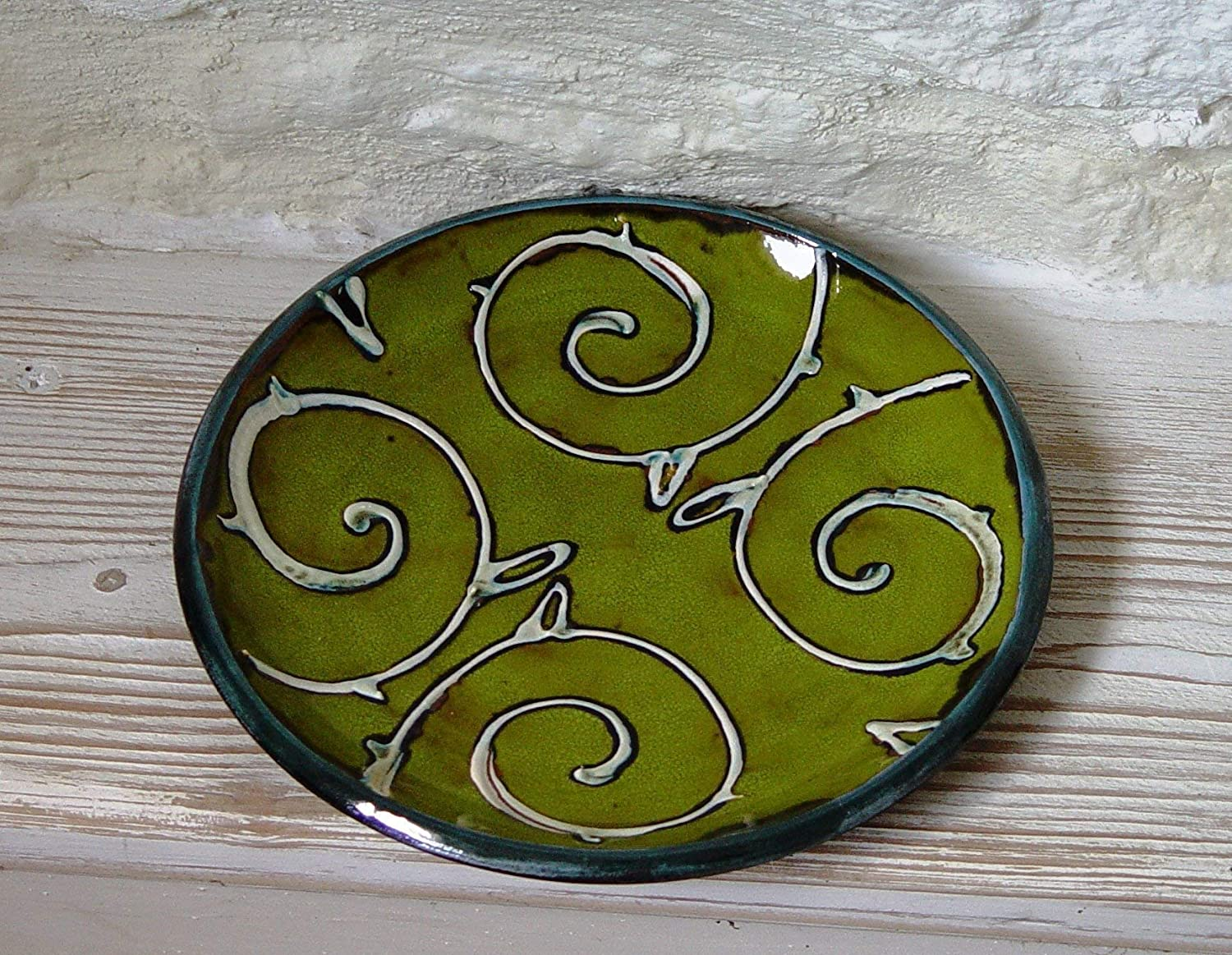 Amazon Com Green Wall Hanging Plate Pottery Decor Wheel Thrown Ceramic With Floral Decoration Kitchen Unique Art Handmade