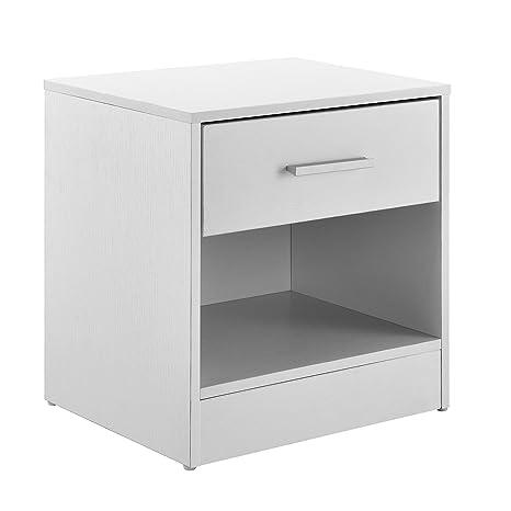 [en.casa]®] Mesilla de Noche Elegante Blanca Moderna 1 cajón & 1 balda aglomerado