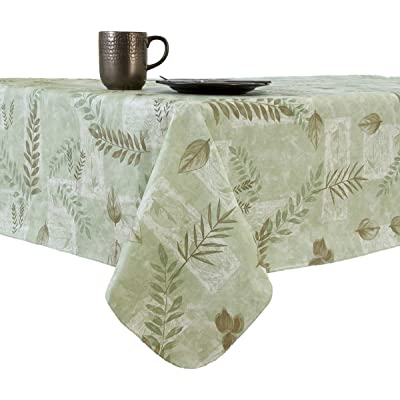 EVERYDAY LUXURIES Boxed Fern Flannel Backed Vinyl Tablecloth Indoor Outdoor, 70-Inch Round with Umbrella Hole and Zipper, Sage: Home & Kitchen