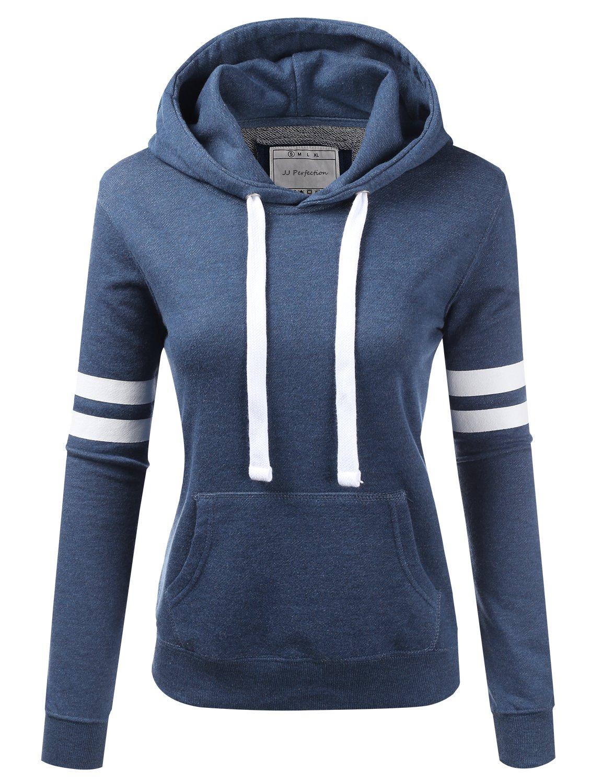 NINEXIS Womens Long Sleeve Terry Hoodie Double Arm Line Pullover Sweatshirts Denim M