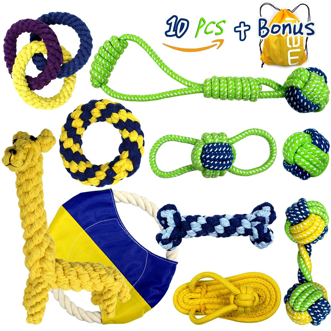 Dog Toys, Nesoul Dog Teething Toys Puppy Dog Pet Cotton Rope Chew Toys 10 Pack gift set For Small Medium Breeds