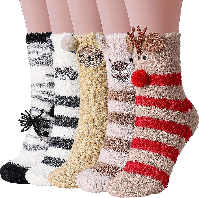 Tacobear Kuschelsocken Damen Socken Flauschige Weiche Warme Haussocken Bettscoken Cartoon Tiere Motiv Lustige Socken Weihnachtssocken Wintersocken f/ür Frauen 5 Paar, Zebra