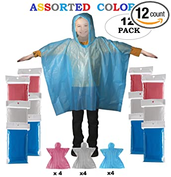 best quality for a few days away outlet store Rain Poncho - Disposable Kids Emergency Raincoat with Hoodie   School  Recreation Hooded Rain Gear for Girls and Boys   Outdoor Weather Protection  ...