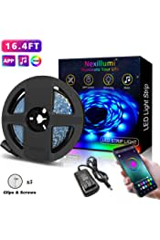 Nexillumi LED Strip Lights 16.4 Foot/5M RGB LED Light Strip, App Control Flexible Color Changing LED Strip Light SMD 5050 LED Rope Lights for Rooms, Kitchen & Interior Home Decoration(16.4ft)
