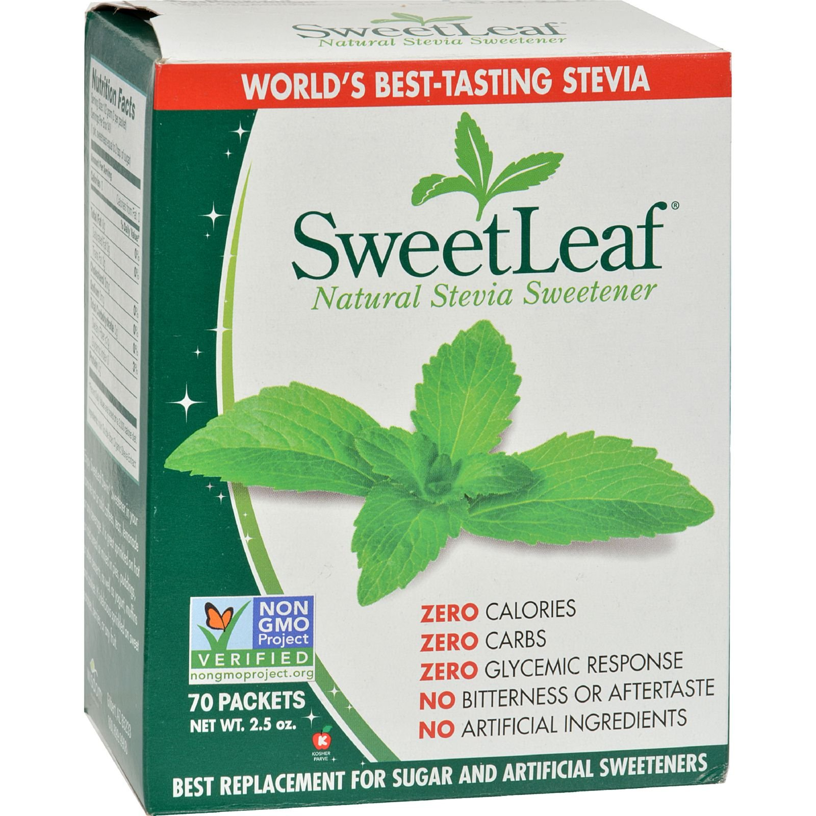 Sweet Leaf - Natural Healthy Sweetener - Zero Calories - Non GMO - 70 Packets (Pack of 2)