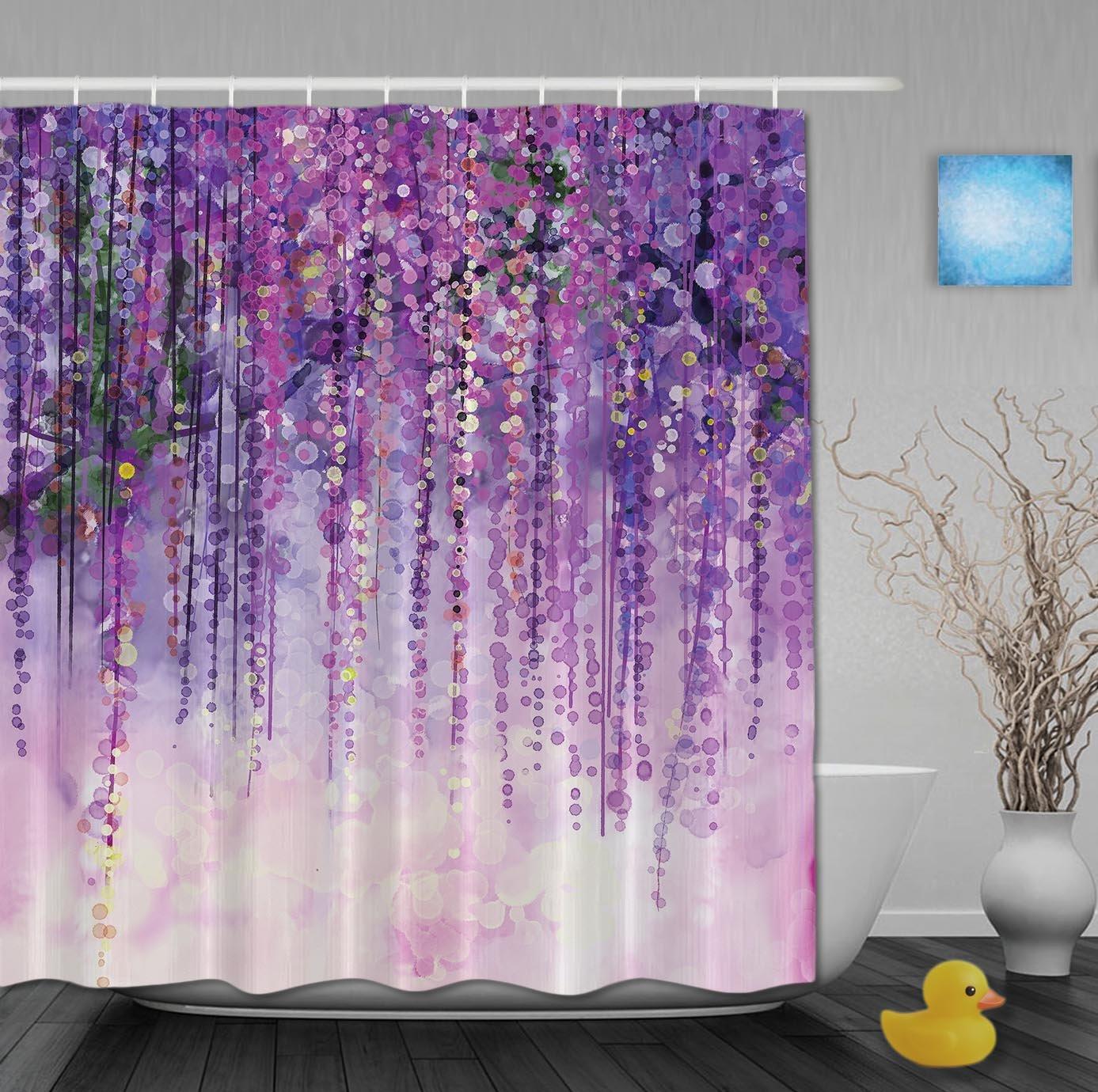 YUNBABA Art Printing Decor Collection Spring Landscape Purple Floral Bathroom Shower Curtains Mildew And Fade Resistant Waterproof Polyester Fabric 72x66 Inch