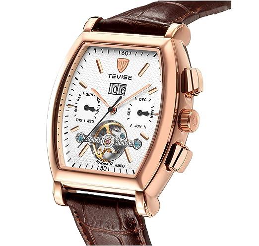 Reloj mecánico automático para hombre de piel marrón Tourbillon esqueleto cuadrado reloj de pulsera con calendario: Amazon.es: Relojes