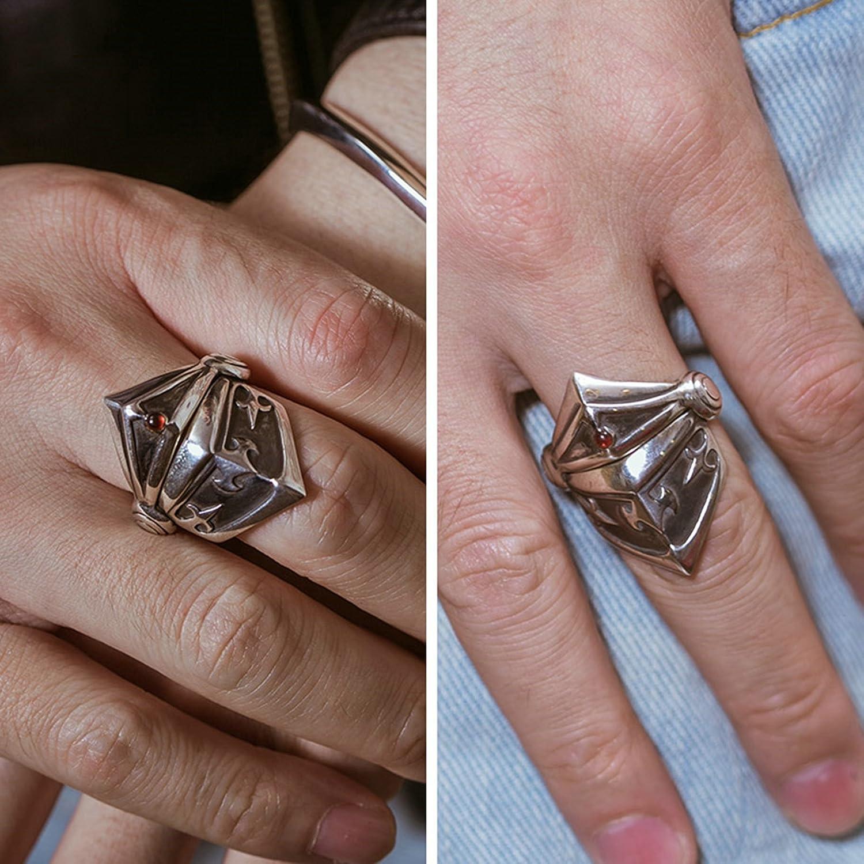 Epinki 925 Sterling Silver Punk Rock Vintage Gothic Mask Armor Ring for Men Fashion Men Accessories