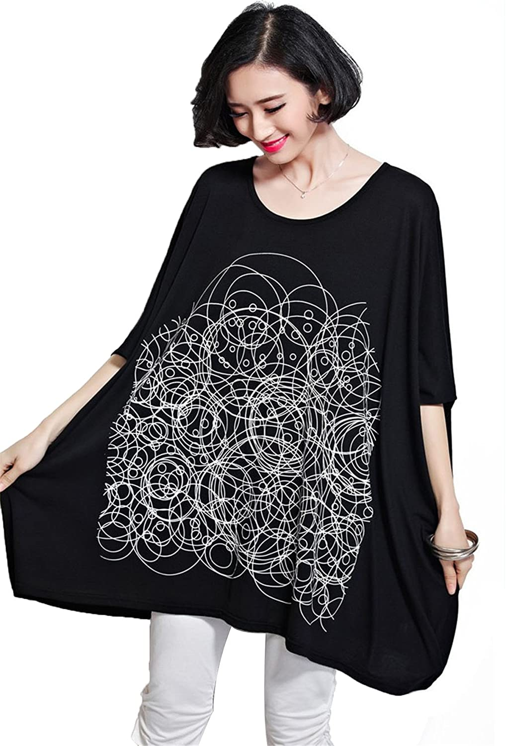 YJWAN Summer Women Plus Size Clothing Short Sleeve Soft Cotton Tunic Loose T Shirt CX226-BK