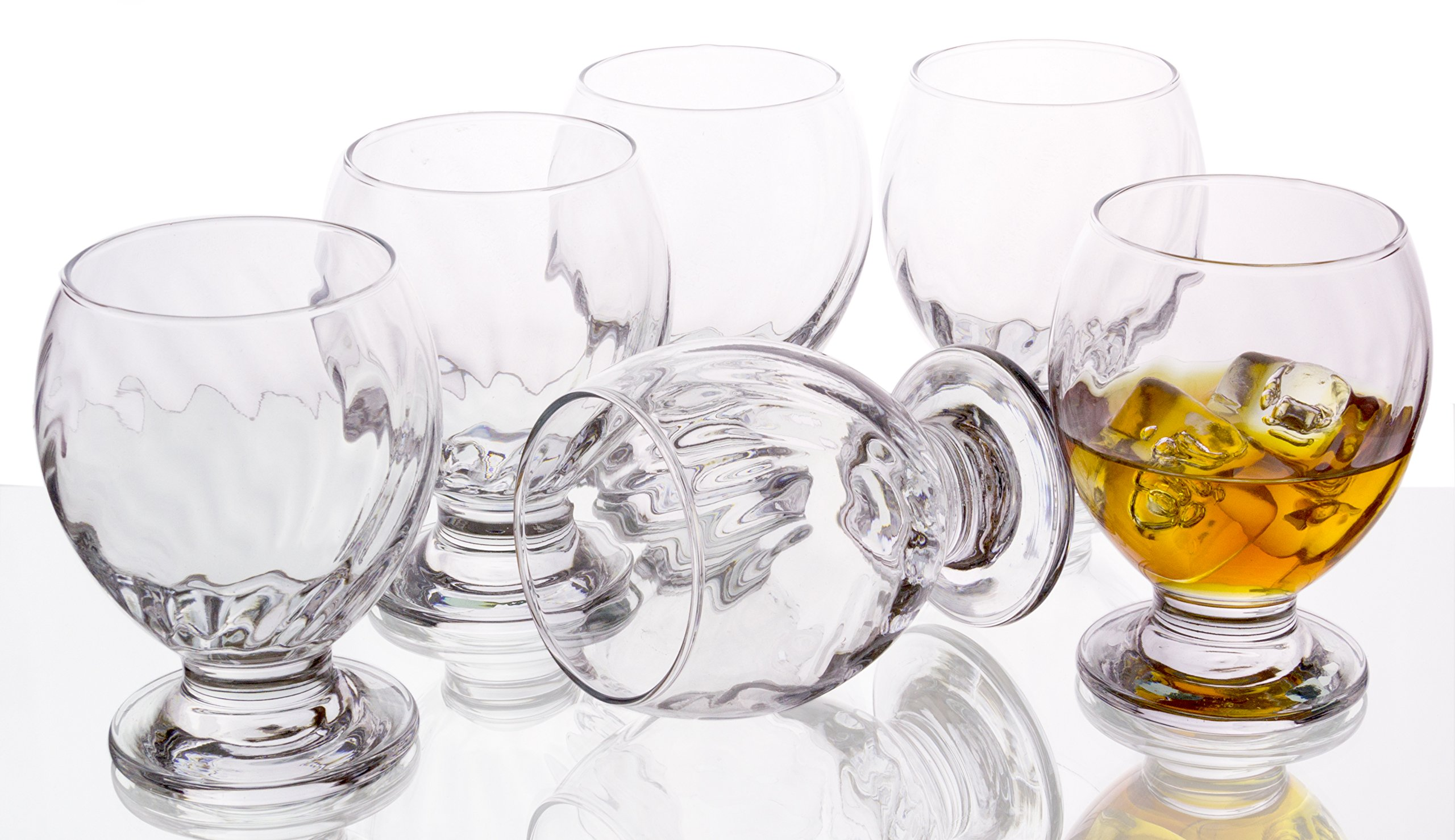 Orion Clear Footed Cognac and Whiskey Goblets, Vertical Curved Lines - Set of 6