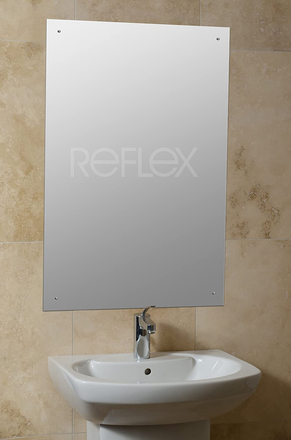 90 X 60cm Rectangle Bathroom Mirror With Drilled Holes Chrome Cap Wall Hanging Fixing Kit Amazoncouk Kitchen Home