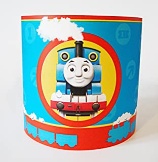 Thomas the tank engine lamp light lampshade with chrome base boys lampshade made with thomas the tank paper mozeypictures Images