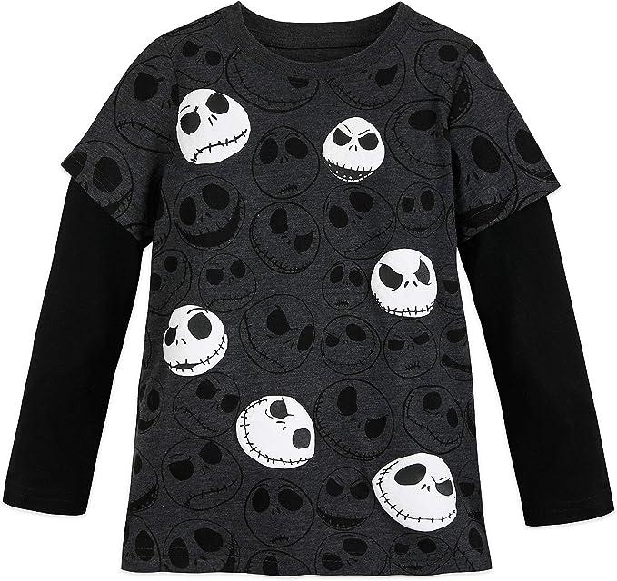 Youth Boys Large Jack Skellington Halloween Short Sleeve T-Shirt Glow In Dark