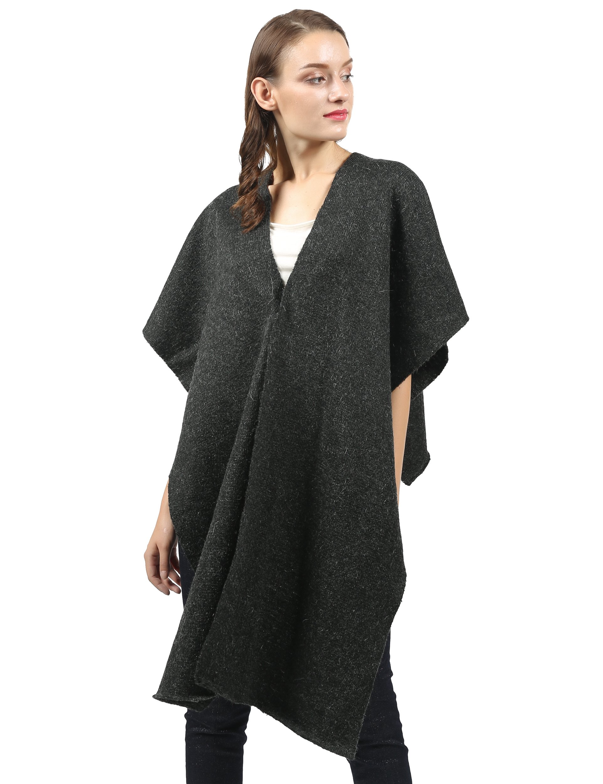 Wool Shawl Wrap, Gray Ruana, Long Scarf, Open Front Cardigan, Cover Up For Women