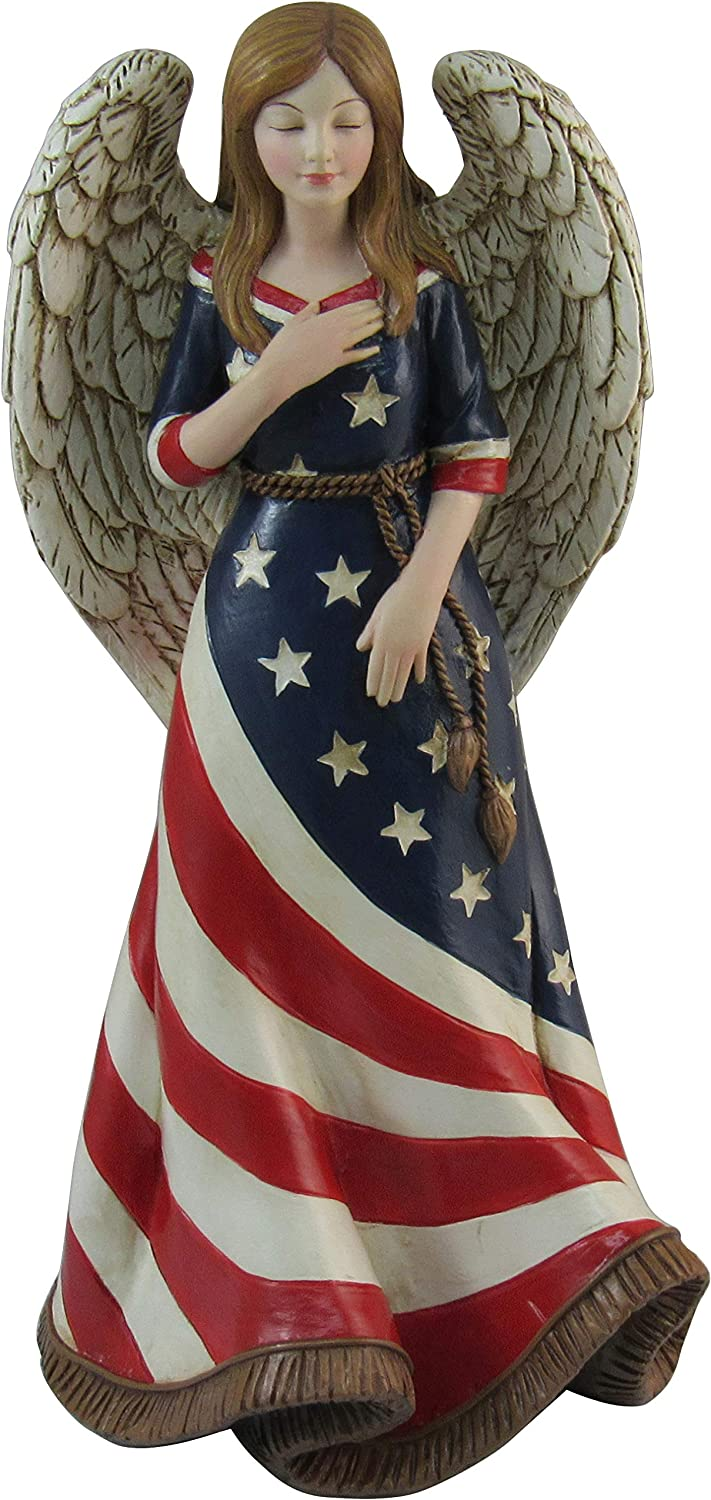 "DWK 9.5"" American Faith Americana Angel Figurine USA Patriotic Religious Statue Memorial Day Fourth Of July Sculpture"
