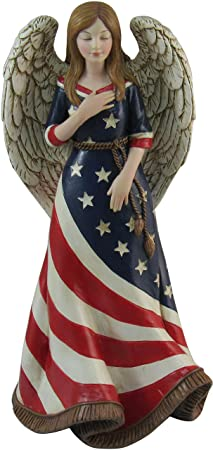 DWK 9.5 American Faith Americana Angel Figurine USA Patriotic Religious Statue Memorial Day Fourth Of July Sculpture