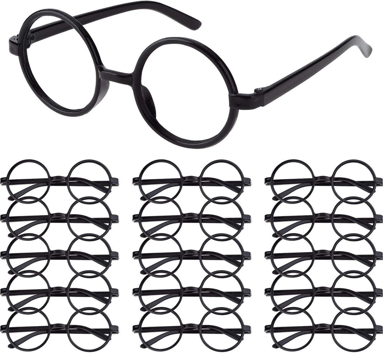Shappy 16 Piezas Gafas de Magos de Plástico Marco de Gafas Redondo sin Lentes para Materiales de Fiesta de Disfraces Halloween, Negro