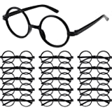 Shappy 16 Pack Plastic Wizard Glasses Round Glasses Frame No Lenses for Halloween Costume Party Supplies (Black)