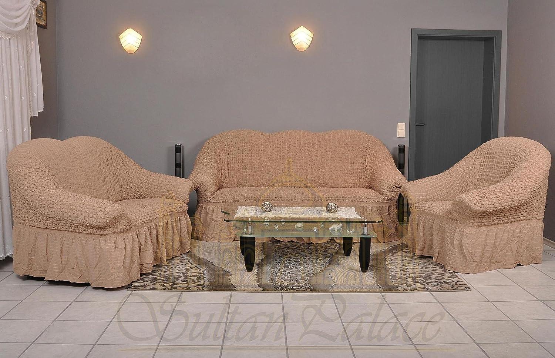 Sultan Palace Stretch Sofabezüge 1er+2er+3er (Sesselbezug, Sofabezug, in der Farbe bone)