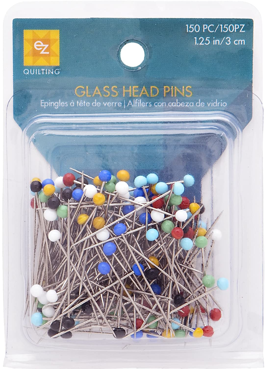 Wrights 881426 Glass Head Multicolor Pins, 150-Pack (Total of 450-piece) Notions - In Network