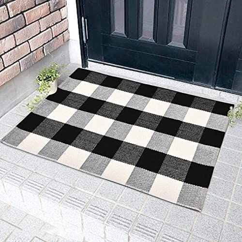 Buffalo Plaid Area Rug, Black and White Woven Runner Rugs, 100 Cotton, Indoor Outdoor Floor Mat for Entryway, Doorway, Laundry, Bedroom, Kitchen, Sitting Room 23.6 x 35.4 inch