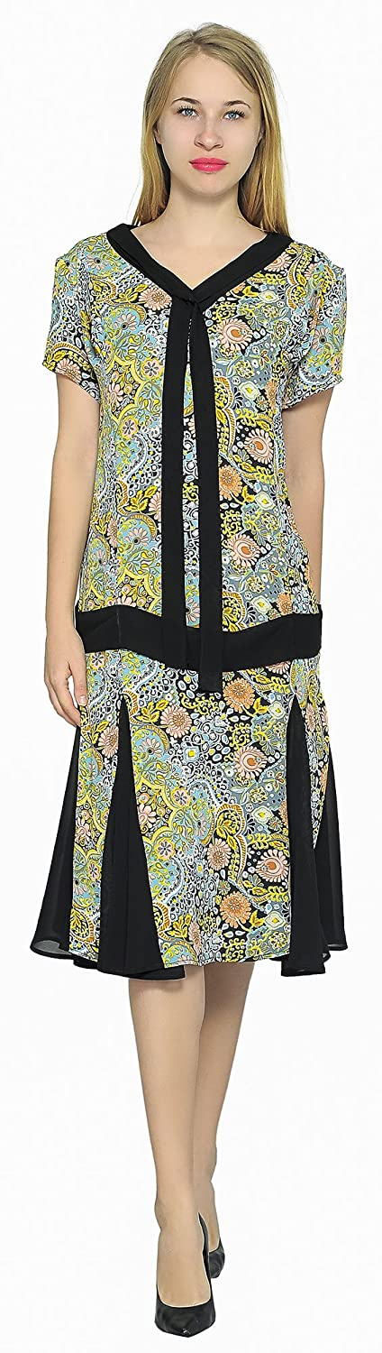 1920s Costumes: Flapper, Great Gatsby, Gangster Girl Marycrafts Woment Drop Waist 1920s Lined Floral Godet Dress $40.90 AT vintagedancer.com